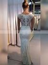 Sheath/Column V-neck Floor-length Lace Appliques Lace Wedding Dresses #PDS00023334