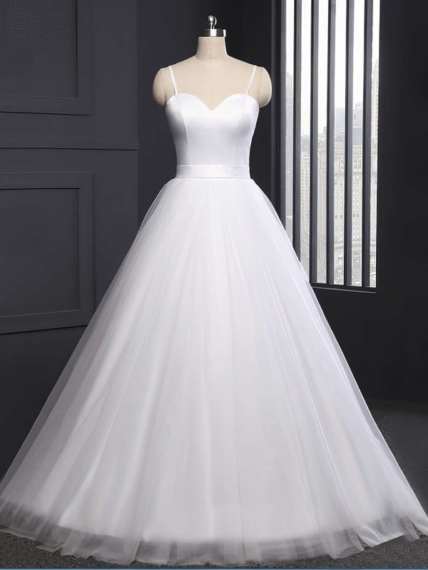 Ball Gown Sweetheart Sweep Train Tulle Sashes / Ribbons Wedding Dresses #PDS00023335