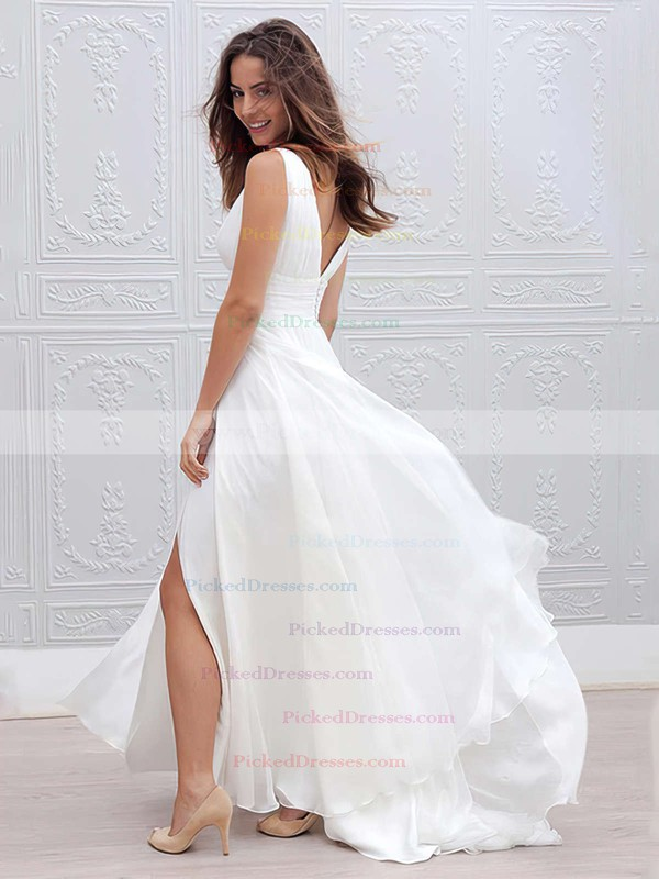 Empire V-neck Floor-length Chiffon Ruffles Wedding Dresses #PDS00023336