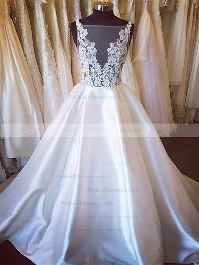 Ball Gown Scoop Neck Court Train Satin Tulle Appliques Lace Wedding Dresses #PDS00023338