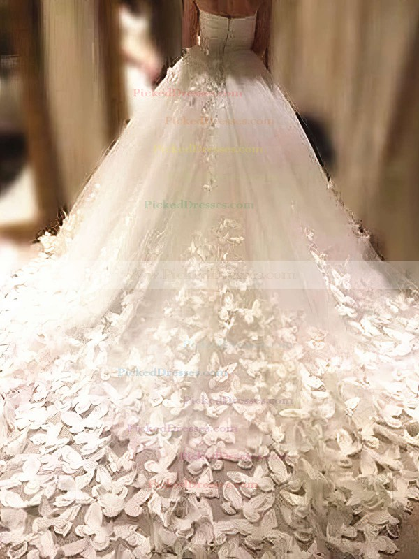 Ball Gown Sweetheart Chapel Train Tulle Flower(s) Wedding Dresses #PDS00023339