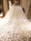 Ball Gown Sweetheart Chapel Train Tulle Flower(s) Wedding Dresses #PDS00023339