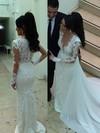 Sheath/Column V-neck Detachable Lace Chiffon Tulle Pearl Detailing Wedding Dresses #PDS00023340