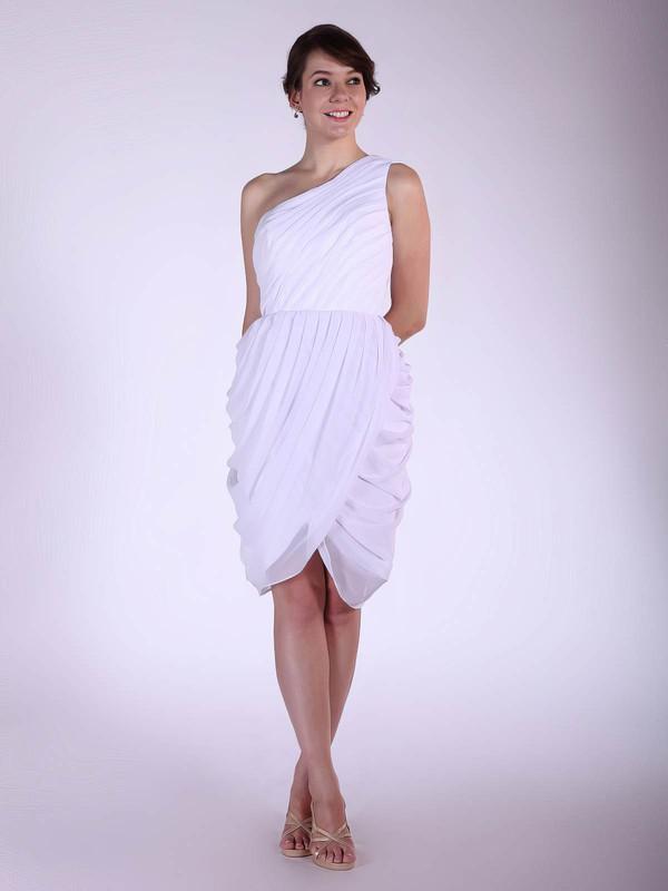 Chiffon A-line One Shoulder Knee-length Pleats Bridesmaid Dresses #PDS02042144