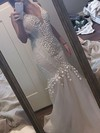 Trumpet/Mermaid V-neck Sweep Train Tulle Lace Wedding Dresses #PDS00023342
