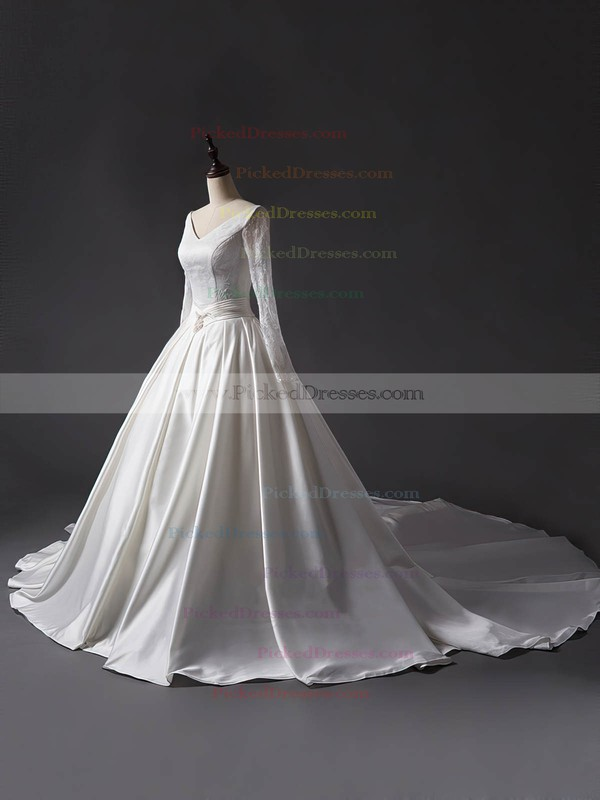 Ball Gown V-neck Chapel Train Lace Satin Sashes / Ribbons Wedding Dresses #PDS00023344