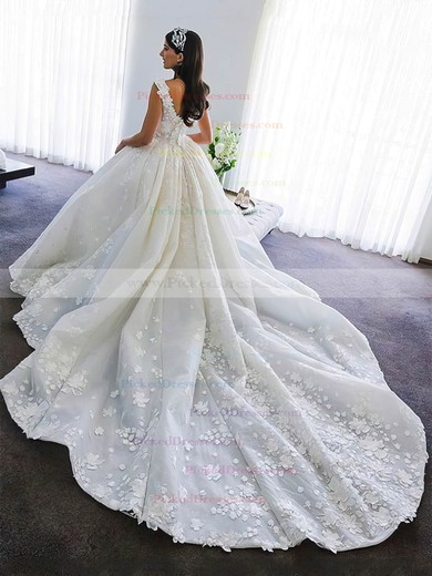 Ball Gown V-neck Cathedral Train Satin Flower(s) Wedding Dresses #PDS00023345