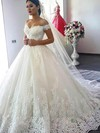 Ball Gown Off-the-shoulder Chapel Train Tulle Appliques Lace Wedding Dresses #PDS00023346