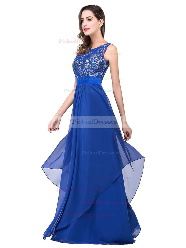 Scoop Neck Lace Chiffon Floor-length Sashes / Ribbons Royal Blue Bridesmaid Dresses #PDS010020101628