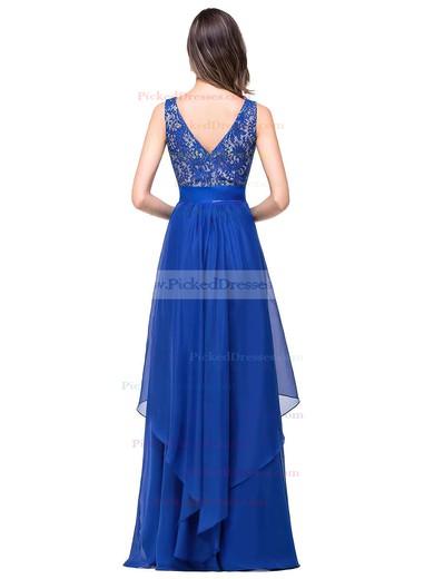 Scoop Neck Lace Chiffon Floor-length Sashes / Ribbons Royal Blue Bridesmaid Dresses #PDS010020101628