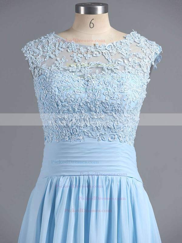 Discounted A-line Scoop Neck Chiffon Tulle Appliques Lace Light Sky Blue Bridesmaid Dresses #PDS010020101630