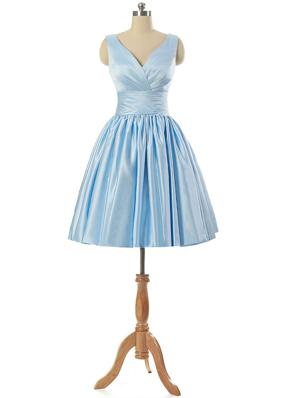 V-neck Light Sky Blue Satin Lace-up Pleats Short/Mini Bridesmaid Dresses #PDS010020101795