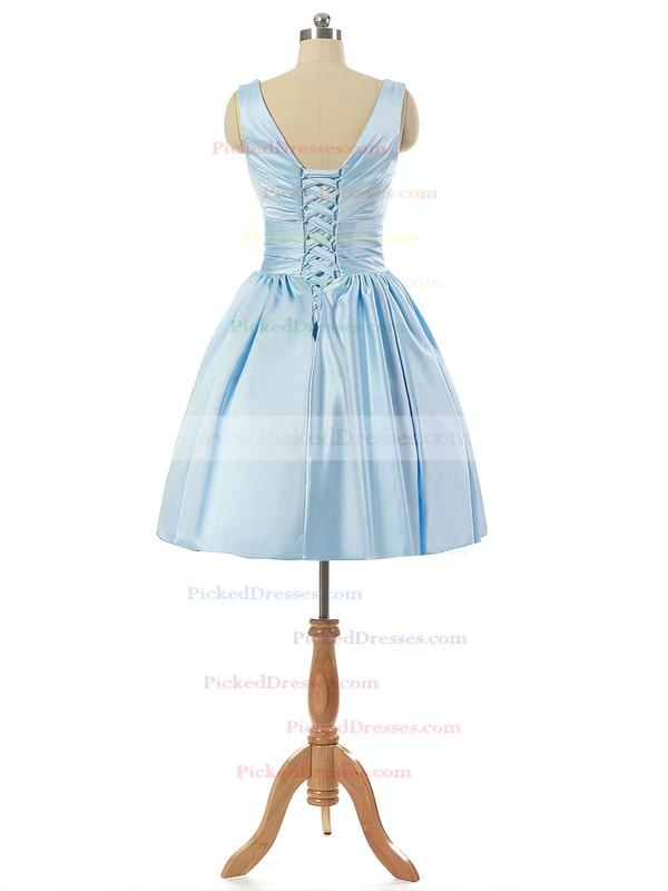 V-neck Light Sky Blue Satin Lace-up Pleats Short/Mini Bridesmaid Dresses #PDS010020101795