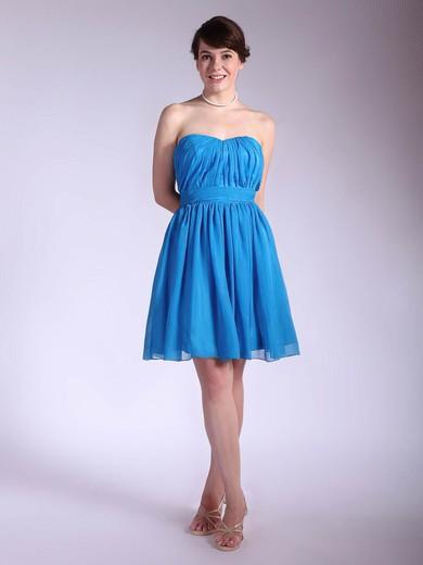 Chiffon A-line Sweetheart Short/Mini Pleats Bridesmaid Dresses #PDS02042145
