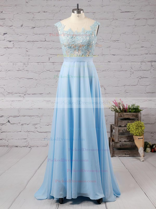 Affordable Scoop Neck Blue Chiffon Tulle Appliques Lace Floor-length Bridesmaid Dresses #PDS010020101989