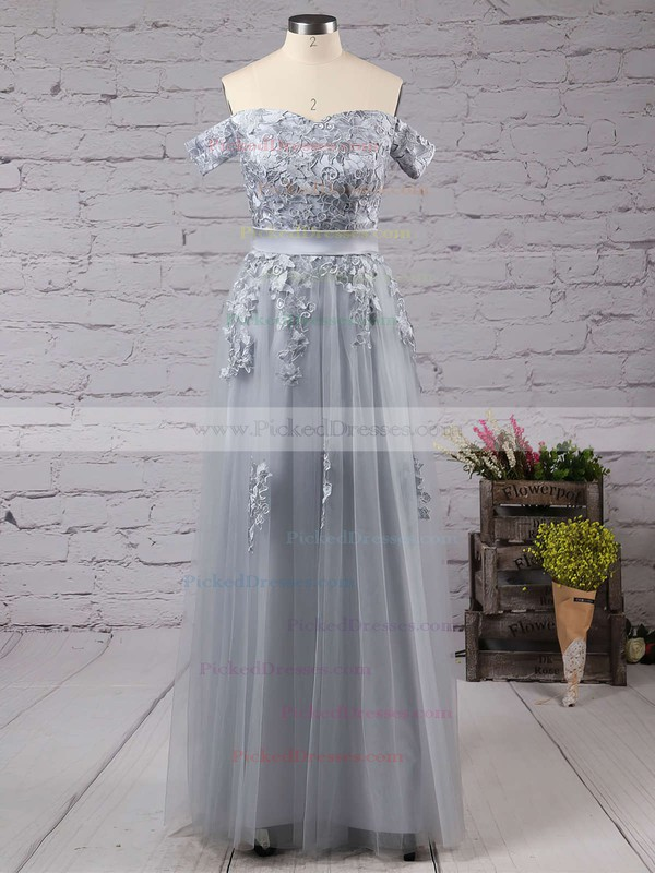 New A-line Gray Tulle Appliques Lace Off-the-shoulder Bridesmaid Dresses #PDS010020102047