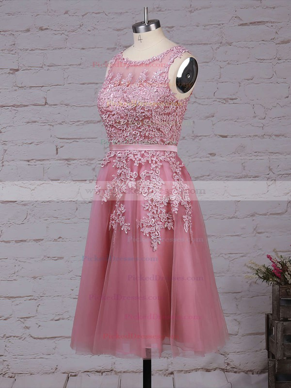 New Style Scoop Neck Tulle Appliques Lace Knee-length Bridesmaid Dresses #PDS010020102050