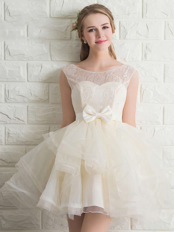 Wholesale Scoop Neck Lace Tulle with Bow Short/Mini Bridesmaid Dresses #PDS010020102158