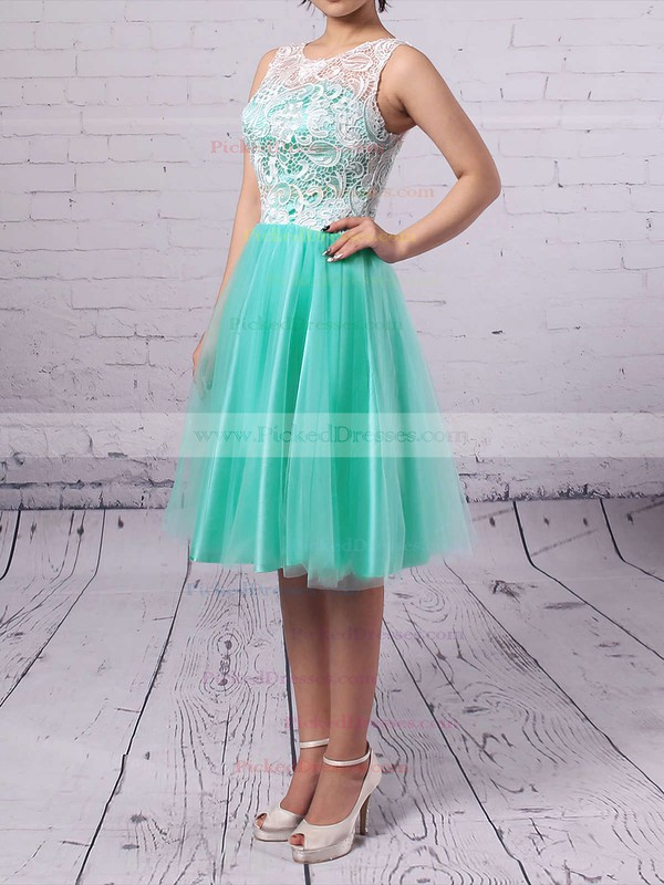 Scoop Neck Tulle with Lace Covered Buttons Short/Mini Bridesmaid Dresses #PDS010020102213