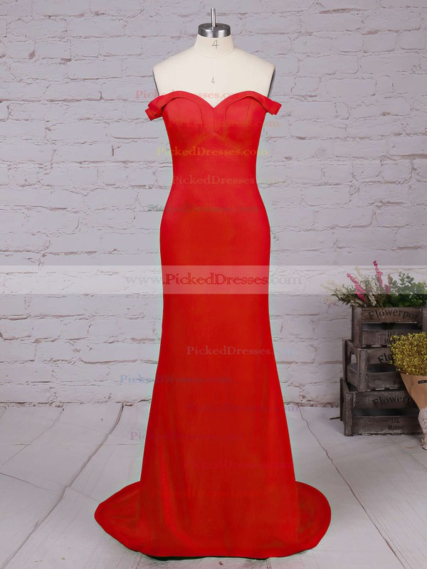 Sheath/Column Off-the-shoulder Red Silk-like Satin Ruffles Modern Bridesmaid Dresses #PDS010020102332