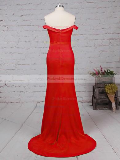 Sheath/Column Off-the-shoulder Red Silk-like Satin Ruffles Modern Bridesmaid Dresses #PDS010020102332
