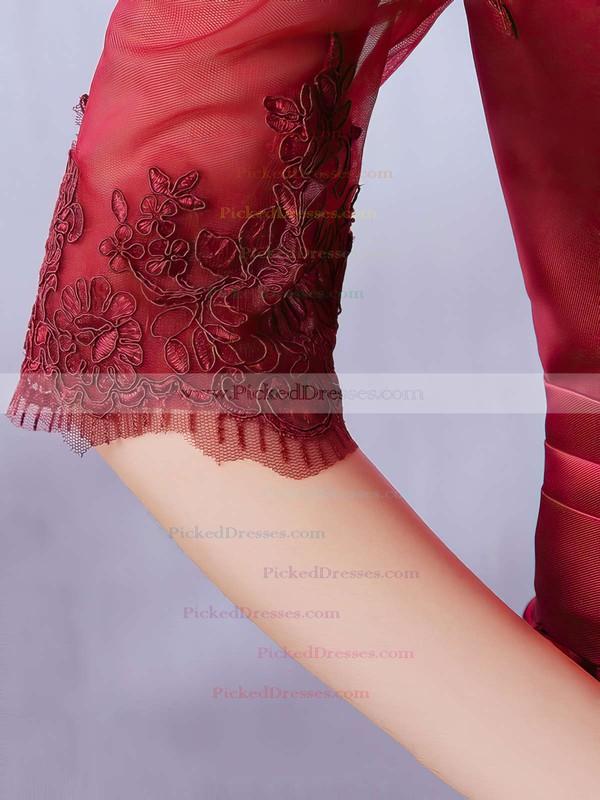 A-line Off-the-shoulder Satin Floor-length Appliques Lace Burgundy Bridesmaid Dresses #PDS010020102406