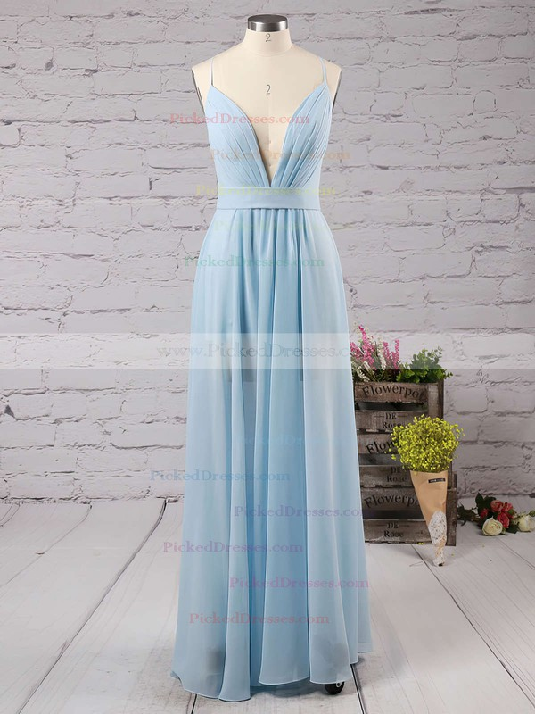 Backless A-line V-neck Chiffon Floor-length Split Front Cheap Bridesmaid Dresses #PDS010020102501