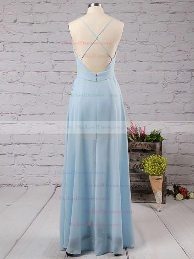 Backless A-line V-neck Chiffon Floor-length Split Front Cheap Bridesmaid Dresses #PDS010020102501