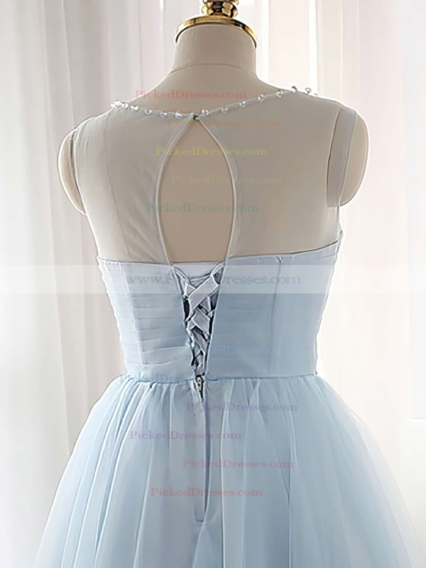 Pretty A-line Scoop Neck Tulle Short/Mini Beading Light Sky Blue Bridesmaid Dresses #PDS010020102518