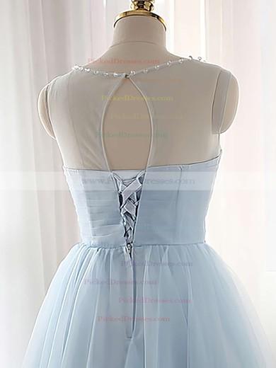 Pretty A-line Scoop Neck Tulle Short/Mini Beading Light Sky Blue Bridesmaid Dresses #PDS010020102518