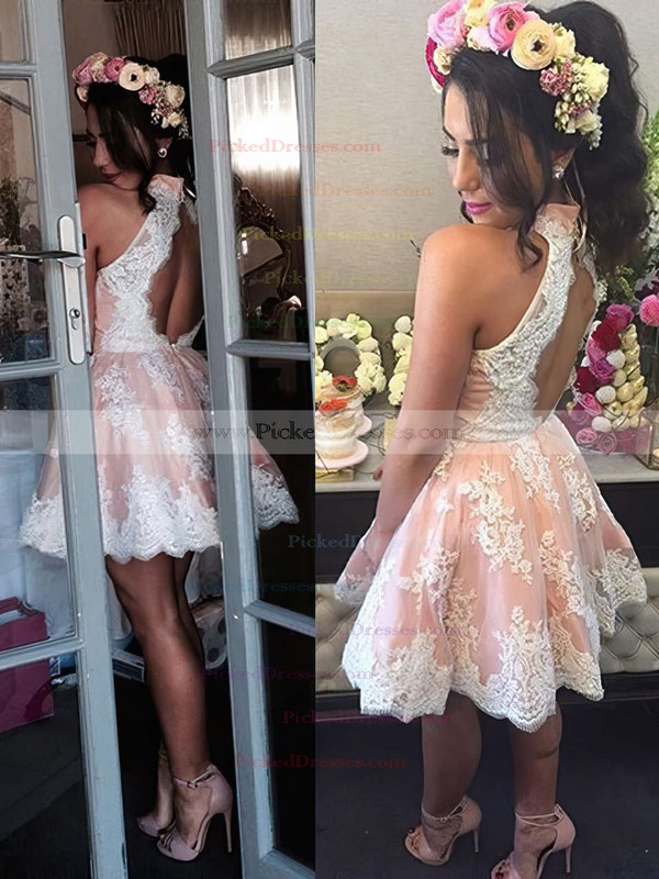 A-line High Neck Best Lace Short/Mini Flower(s) Open Back Bridesmaid Dresses #PDS010020102525