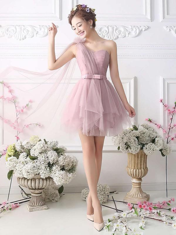 Princess One Shoulder Tulle Short/Mini Sashes / Ribbons Fashion Bridesmaid Dresses #PDS010020102533