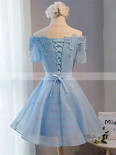 A-line Off-the-shoulder Satin Organza Short/Mini Sashes / Ribbons Bridesmaid Dresses #PDS010020102547