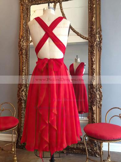Hot A-line V-neck Chiffon Knee-length Ruffles Red Backless Bridesmaid Dresses #PDS010020102648