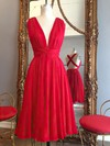 Hot A-line V-neck Chiffon Knee-length Ruffles Red Backless Bridesmaid Dresses #PDS010020102648