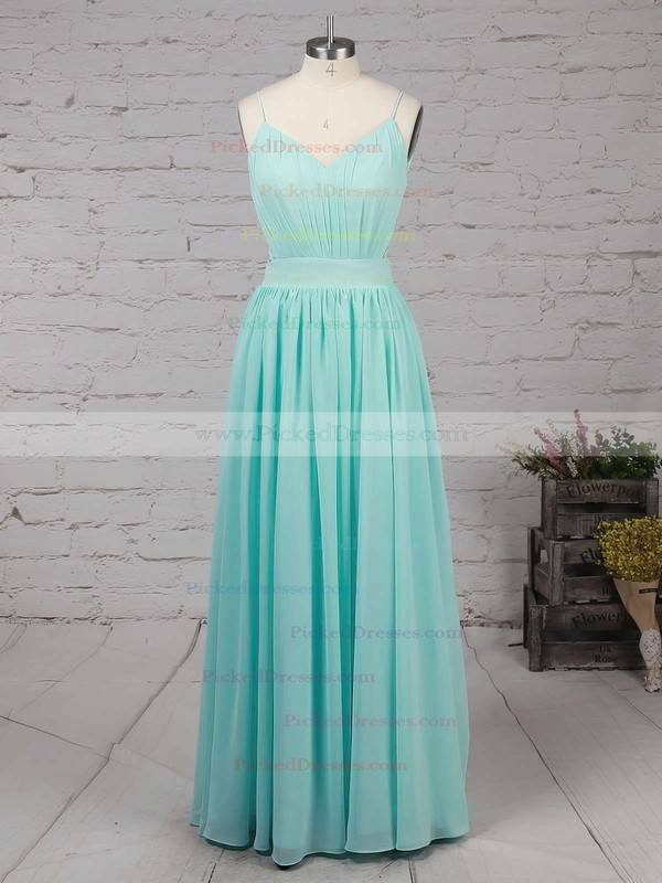 Unique A-line V-neck Chiffon Floor-length Ruffles Backless Bridesmaid Dresses #PDS010020102734