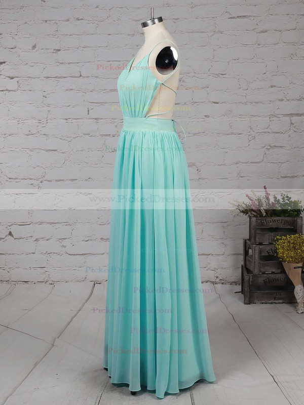 Unique A-line V-neck Chiffon Floor-length Ruffles Backless Bridesmaid Dresses #PDS010020102734