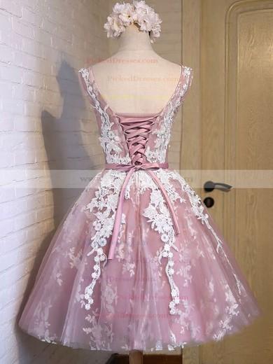 A-line Scoop Neck Tulle Appliques Lace Exclusive Knee-length Bridesmaid Dresses #PDS010020102736