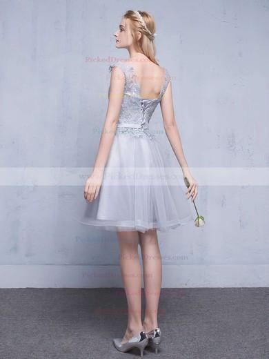 A-line Scoop Neck Tulle Short/Mini Appliques Lace Pretty Bridesmaid Dresses #PDS010020102753
