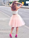 Two Piece A-line Sweetheart Tulle Knee-length Ruffles Trendy Bridesmaid Dresses #PDS010020102755