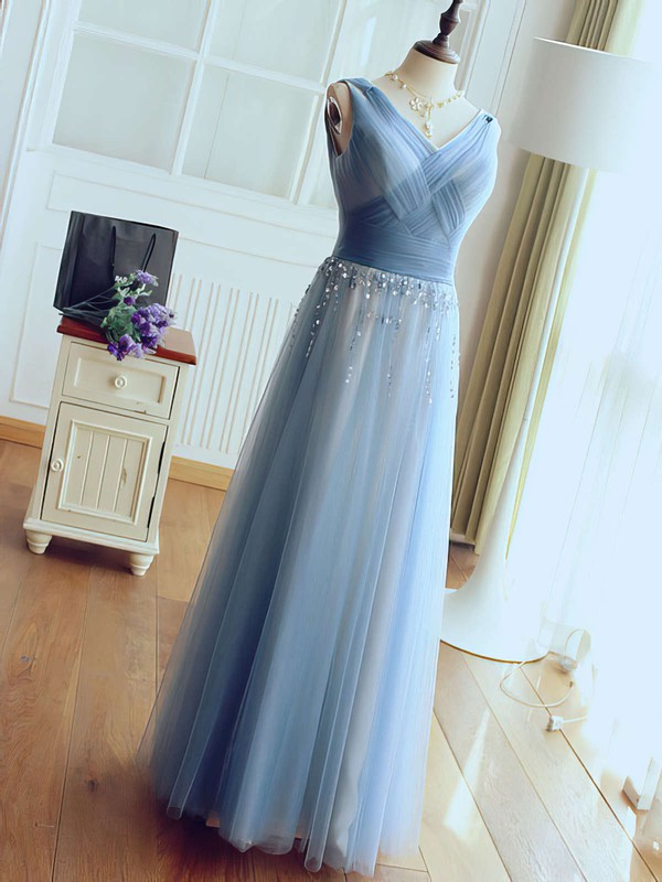 A-line V-neck Tulle Floor-length Beading Glamorous Bridesmaid Dresses #PDS010020102764