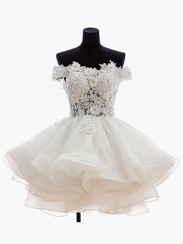 Princess Off-the-shoulder Organza Tulle Short/Mini Appliques Lace Cute Bridesmaid Dresses #PDS010020102801