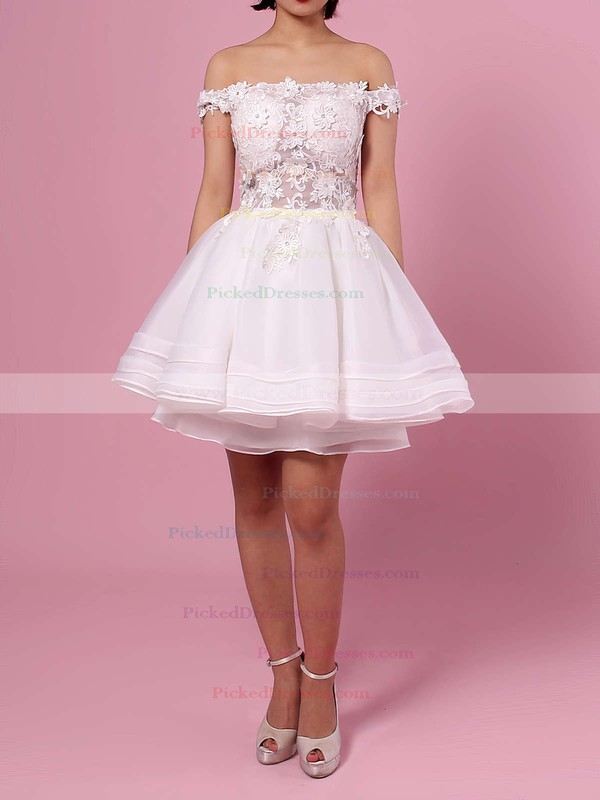 Princess Off-the-shoulder Organza Tulle Short/Mini Appliques Lace Red Cute Bridesmaid Dresses #PDS010020102801