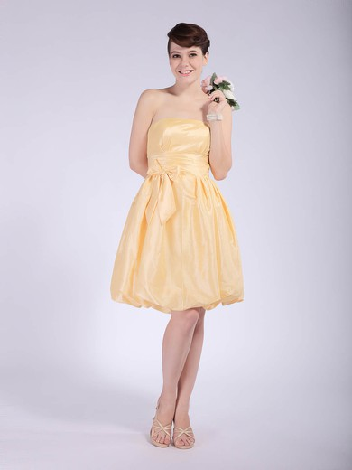 Taffeta Empire Strapless Knee-length Bow Bridesmaid Dresses #PDS02042148