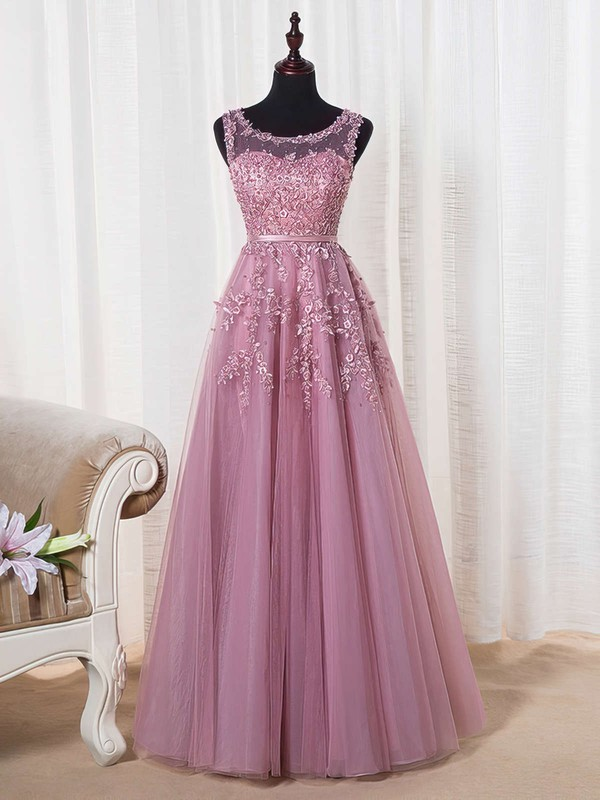 A-line Scoop Neck Tulle Floor-length Appliques Lace Graceful Bridesmaid Dresses #PDS010020102804