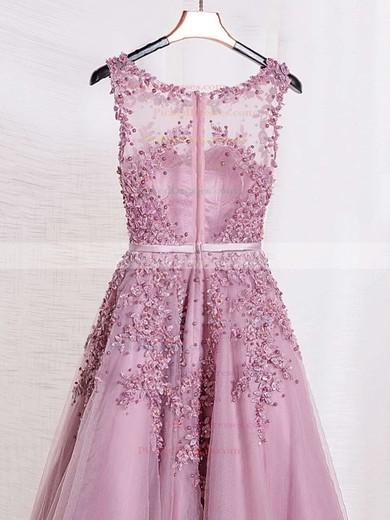 A-line Scoop Neck Tulle Floor-length Appliques Lace Graceful Bridesmaid Dresses #PDS010020102804