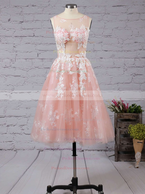 Ball Gown Scoop Neck Tulle Tea-length Appliques Lace Boutique Bridesmaid Dresses #PDS010020103045