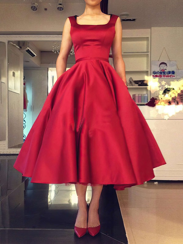 Ball Gown Square Neckline Satin Tea-length Bow Backless Simple Bridesmaid Dresses #PDS010020103061