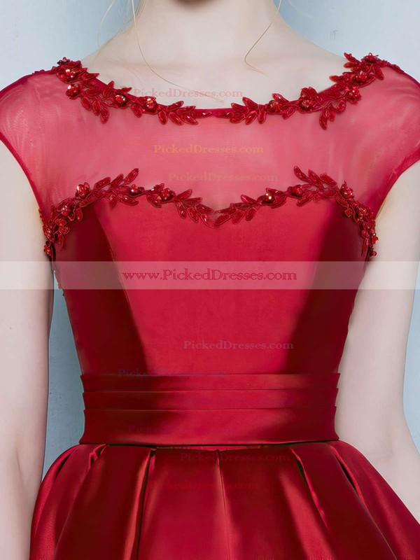 Prettiest Princess Scoop Neck Satin Tulle Asymmetrical Appliques Lace Cap Straps High Low Bridesmaid Dresses #PDS010020103133