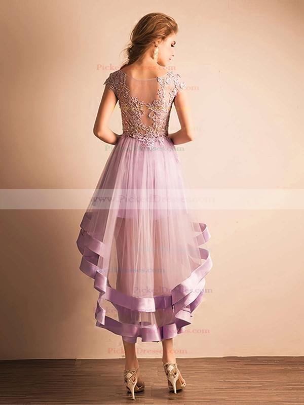 A-line Scoop Neck Tulle Asymmetrical Appliques Lace Cap Straps High Low Glamorous Bridesmaid Dresses #PDS010020103141